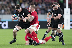 November 1, 2019, Tokyo, Japan: New Zealand's Scott Barrett is tackled by Wales' Ross Moriarty during the Rugby World Cup 2019 Bronze Final between New Zealand and Wales at Tokyo Stadium. New Zealand defeats Wales 40-17. (Credit Image: © Rodrigo Reyes Marin/ZUMA Wire)