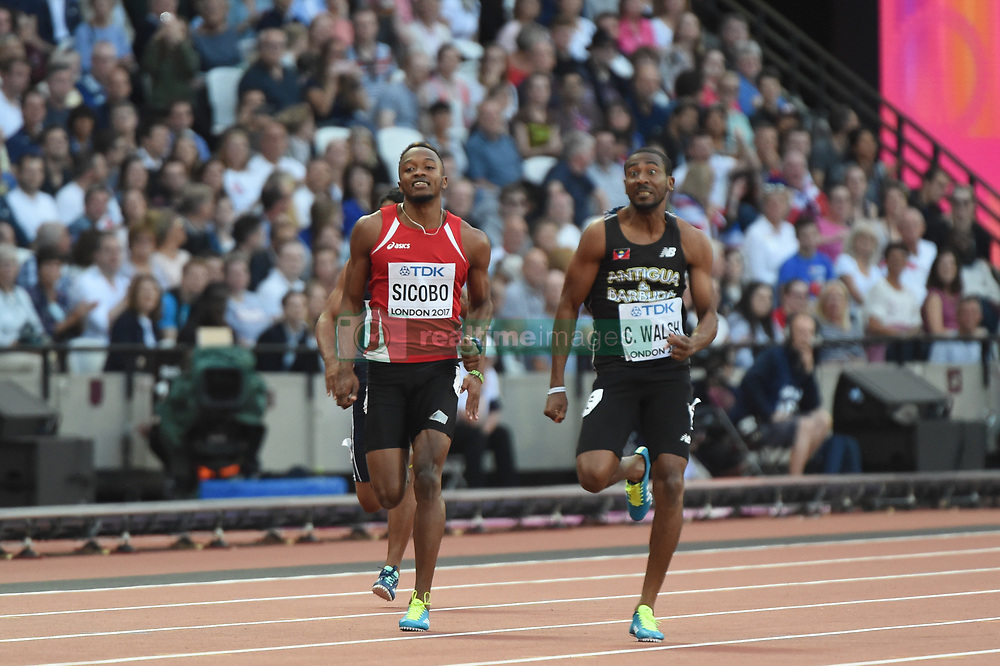 August 4, 2017 - London, United Kingdom - Dyland SICOBO, Seychelles, and Chavaughn WALSH, Antiqua, during 100 meter preliminary round  at London Stadium in London on August 4, 2017 at the 2017 IAAF World Championships athletics. (Credit Image: © Ulrik Pedersen/NurPhoto via ZUMA Press)
