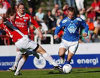 Morten Moldskred, Aalesund. Jaakko Nyberg, Kongsvinger. <br /> <br /> Fotball: Kongsvinger - Aalesund 2-2 (5-2 e. straffer). NM 2004 herrer, 3. runde. 8. juni 2004. (Foto: Peter Tubaas/Digitalsport.