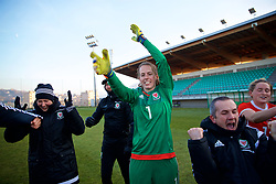 ZENICA, BOSNIA AND HERZEGOVINA - Tuesday, November 28, 2017: Wales' goalkeeper Laura O'Sullivan celebrates the 1-0 victory over Bosnia and Herzegovina during the FIFA Women's World Cup 2019 Qualifying Round Group 1 match between Bosnia and Herzegovina and Wales at the FF BH Football Training Centre. (Pic by David Rawcliffe/Propaganda)