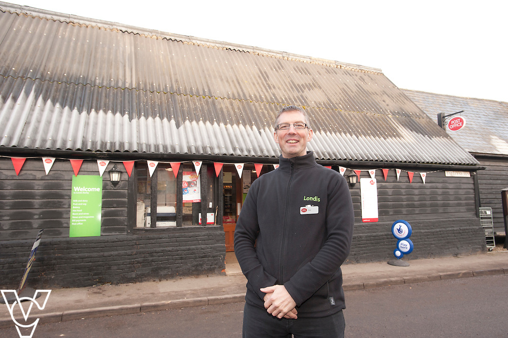 Pictured is postmaster Dave Bray<br /> <br /> Barley Post Office, Church End, Royston, Hertfordshire.<br /> Date: January 23, 2015