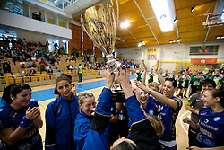 Players of Krim celebrate after the handball match between ZRK Krka and RK Krim Mercator in Final of Slovenian Women Cup, on April 3, 2011, in Sports Arena Zagorje, Slovenia. Krim defeated Krka 40-18 and became Slovenian Cup Champion. (Photo by Vid Ponikvar / Sportida)