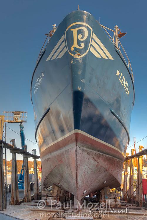 "Fishing Boat ""Linda"" is drydocked at the Gloucester Marine Railways"