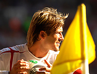Photo: Henry Browne.<br /> Wales v England. FIFA World Cup Qualifying match.<br /> 03/09/2005.<br /> David beckham prepares to take a corner kick.