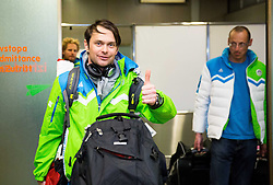 Rok Flander at reception of Slovenia team arrived from Winter Olympic Games Sochi 2014 on February 25, 2014 at Airport Joze Pucnik, Brnik, Slovenia. Photo by Vid Ponikvar / Sportida