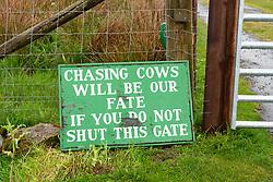 Sign beside farm gate on Kildalton estate on Islay, Scotland, Uk