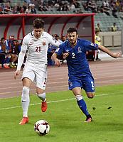 Fotball ,  BAKU, Oct. 9, 2016 -- Pål Andre Helland (L) from Norway vies with Gara Garayev from Azerbaijan  FIFA World Cup WM Weltmeisterschaft Fussball 2018 qualification match between Norway and Azerbaijan in Baku, Azerbaijan, Oct. 8, 2016. Azerbaijan beat Norway 1-0.) (SP)AZERBAIJAN-BAKU-FIFA WORLD CUP 2018-QUALIFIER <br /> Aserbajdsjan - Norge 1-0<br /> Norway only<br /> INNGÅR IKKE I FASTAVTALER , KUN STYKKPRIS