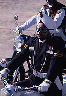 A motorcycle guard in parade from the  airport as President Carter visits India on January 1, 1978<br /> Photo by Dennis Brack