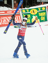 Winner in overall classification of Golden Fox 2021 Marta Bassino (ITA) celebrates at trophy ceremony during 2nd Run of Ladies' Giant Slalom at 57th Golden Fox event at Audi FIS Ski World Cup 2020/21, on January 17, 2021 in Podkoren, Kranjska Gora, Slovenia. Photo by Vid Ponikvar / Sportida
