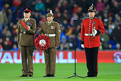 14th November 2017 - International Friendly - Wales v Panama - Members of the armed forces stand on the pitch ahead of kick-off - Photo: Simon Stacpoole / Offside.
