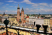Krakow, Poland. Summer afternoon in Rynek Glowny (old town square).