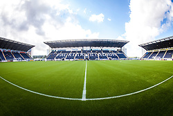 The three stands seen from the half-way line, at The Falkirk Stadium, with the new pitch work for the Scottish Championship game v Morton. The woven GreenFields MX synthetic turf and the surface has been specifically designed for football with 50mm tufts compared with the longer 65mm which has been used for mixed football and rugby uses.  It is fully FFA two star compliant and conforms to rules laid out by the SPL and SFL.<br /> ©Michael Schofield.