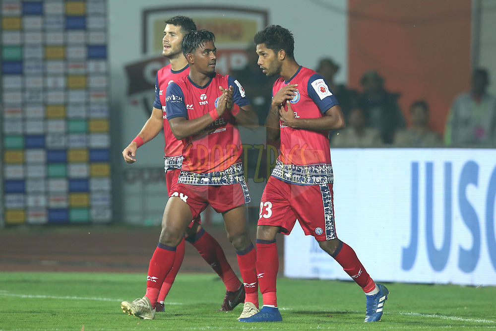 Michael Soosairaj of Jamshedpur FC celebrates the goal during match 25 of the Hero Indian Super League 2018 ( ISL ) between Jamshedpur FC and FC Goa held at JRD Tata Sports Complex, Jamshedpur, India on the 1st November  2018<br /> <br /> Photo by: Deepak Malik /SPORTZPICS for ISL