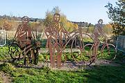 HS2 construction site Crackley Woods, Kenilworth, Warwickshire, England, UK, November 2020 - artwork sculpture in Millennium woodland to be cleared