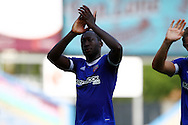 Toumani Diagouraga of Brentford applauds the supporters after the game. Skybet football league championship match, Burnley  v Brentford at Turf Moor in Burnley, Lancs on Saturday 22nd August 2015.<br /> pic by Chris Stading, Andrew Orchard sports photography.