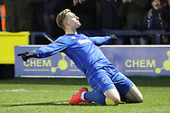 AFC Wimbledon striker Joe Pigott (39) celebrating after scoring goal to make it 2-0 on his debut during the EFL Sky Bet League 1 match between AFC Wimbledon and Blackpool at the Cherry Red Records Stadium, Kingston, England on 20 January 2018. Photo by Matthew Redman.