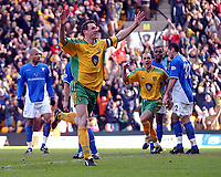 PICTURE BY DANIEL HAMBURY/SPORTSBEAT IMAGES<br />Nationwide Football League Division One    7/3/04<br /><br />NORWICH V IPSWICH<br /><br />Norwich City's Malky Mackay celebrates his first goal