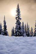Skyline Lake, in Washington's Cascade Mountains, snowed in during winter