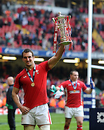 Wales capt Sam Warburton celebrates as he lifts the six nations trophy. RBS Six nations championship 2012, Wales v France at the Millennium Stadium in Cardiff, South Wales on Saturday 17th March 2012.  pic by Andrew Orchard, Andrew Orchard sports photography,