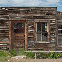 An old telephone company building remains slightly intact in Virginia City, a ghost town that was once the capital of Montana Territory.