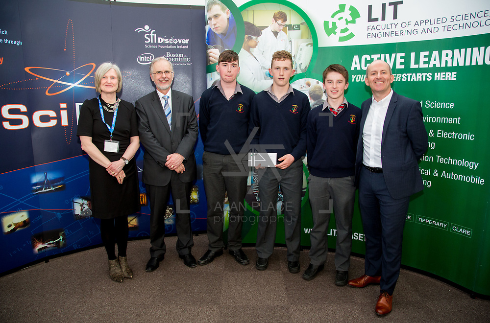 27.04.2016.          <br />  Kalin Foy and Ciara Coyle win SciFest@LIT<br /> Kalin Foy and Ciara Coyle from Colaiste Chiarain Croom to represent Limerick at Ireland's largest science competition.<br /> <br /> John The Baptist Community School students, Thomas Kennedy, Páraic Wixted and Stephen O'Brien's project, Educating the Youth of Ireland on Farm Safety, was Intermed/senior first in the Life Sciences Category.  EThomas Kennedy, Páraic Wixted and Stephen O'Brien are pictured with George Porter, SciFest and Brian Aherne, Intel<br /> <br /> Of the over 110 projects exhibited at SciFest@LIT 2016, the top prize on the day went to Kalin Foy and Ciara Coyle from Colaiste Chiarain Croom for their project, 'To design and manufacture wireless trailer lights'. The runner-up prize went to a team from John the Baptist Community School, Hospital with their project on 'Educating the Youth of Ireland about Farm Safety'.  Picture: Alan Place