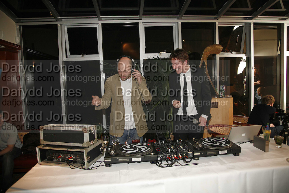 GAVIN TURK AND CHRISTOPHER TAYLOR, Sir Peter Blake and Poppy De Villeneuve host a party with University of the Arts London at the Arts Club, Dover Street, London. 20 APRIL 2006<br />ONE TIME USE ONLY - DO NOT ARCHIVE  © Copyright Photograph by Dafydd Jones 66 Stockwell Park Rd. London SW9 0DA Tel 020 7733 0108 www.dafjones.com