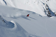 A skier heli skiing on the 4th March 2019 in Ayder in the Kackar Mountains in Eastern Turkey.