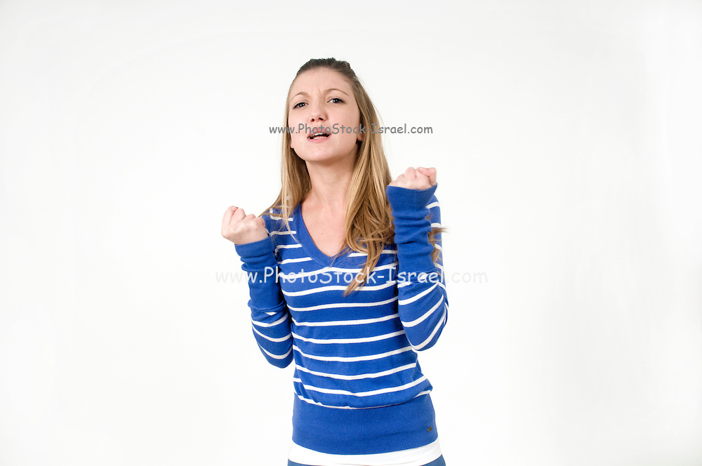 Frustrated teen On white Background