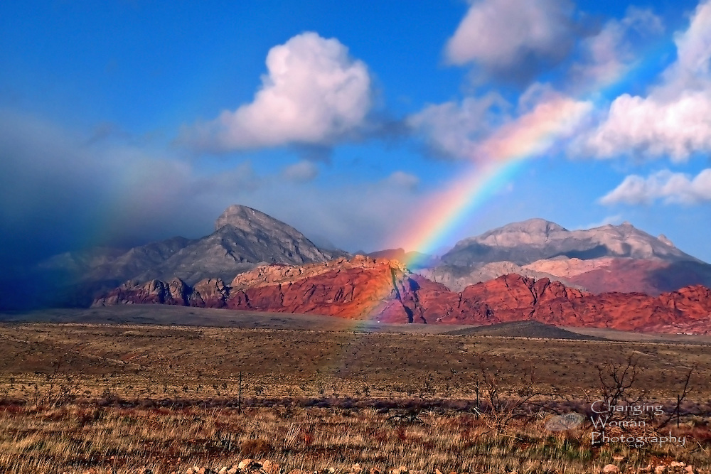 At the edge of a winter squall spilling over the Spring Mountains and into the Red Rock Canyon National Conservation Area west of Las Vegas, a rainbow spreads across red sandstone hills as it bridges the desert valley with a cloud-studded blue sky. This horizontal image captures the tension and vibrant color of this dramatic weather event.