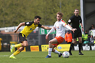 Burton Albion midfielder Scott Fraser (7) and Luton Town midfielder Luke Berry (8) during the EFL Sky Bet League 1 match between Burton Albion and Luton Town at the Pirelli Stadium, Burton upon Trent, England on 27 April 2019.