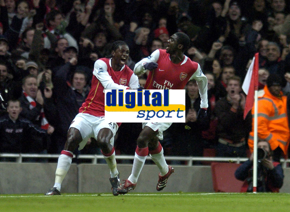Photo: Olly Greenwood.<br /> Arsenal v Bolton Wanderers. The FA Cup. 28/01/2007. Arsenal's Kolo Toure celebrates scoring with Emmanuel Adebayor