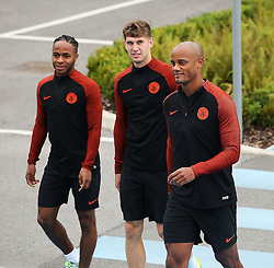 Raheem Sterling, John Stones and Vincent Kompany of Manchester City walk out to train - Mandatory by-line: Matt McNulty/JMP - 12/09/2016 - FOOTBALL - Manchester City - Training session ahead of Champions League Group C match against Borussia Monchengladbach
