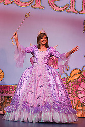 © Licensed to London News Pictures. 01/12/2014. London, England. Photocall with Dallas-actress Linda Gray who makes her pantomime debut playing the Fairy Godmother in Cinderella at the New Wimbledon Theatre from 5 December 2014 to 11 January 2015. The cast included Tim Vine, Matthew Kelly and Wayne Sleep. Photo credit: Bettina Strenske/LNP