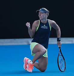MELBOURNE, Jan. 25, 2018  Angelique Kerber of Germany celebrates scoring during the women's singles semifinal match against Simona Halep of Romania at Australian Open 2018 in Melbourne, Australia, Jan. 25, 2018. Halep won 2-1 to enter the final. (Credit Image: © Zhu Hongye/Xinhua via ZUMA Wire)