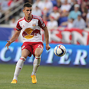 Matt Miazga , New York Red Bulls, in action during the New York Red Bulls Vs NYCFC, MLS regular season match at Red Bull Arena, Harrison, New Jersey. USA. 10th May 2015. Photo Tim Clayton