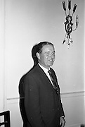 """23/09/1963<br /> 09/23/1963<br /> 23 September 1963<br /> Mr Colm Barnes addressing Rotary Club at the Hibernian Hotel, Dublin. Mr Barnes, Chairman of the Institute of Industrial Research and Standards and Joint Managing Director, Glen Abbey Textiles Ltd., who addressed the Dublin Rotary Club on """"Industrial Research"""" at the luncheon."""