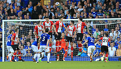 Everton's Leighton Baines takes a free-kick during the Premier League match at Goodison Park, Liverpool.