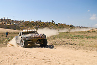 Rivera Racing trophy truck arring in first place at finish finish in Cabo San Lucas for 2007 Baja 1000