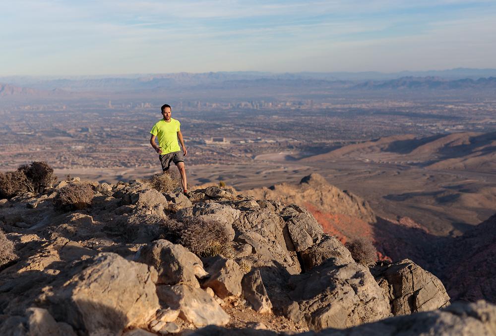 Mark Howell trailing running Turtlehead Peak in Red Rock Canyon, Las Vegas