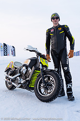Oleg Goryunov with his Indian Scout ice racer at the Baikal Mile Ice Speed Festival. Maksimiha, Siberia, Russia. Thursday, February 27, 2020. Photography ©2020 Michael Lichter.