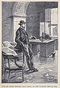 One of those Offices that Smell of the Thieves' Den from the book ' Mistress Branican ' by Jules Verne, illustrated by Leon Benett. The story begins in the United States, where the heroine, Mistress Branican, suffers a mental breakdown after the death by drowning of her young son. On recovering, she learns that her husband, Captain Branican, has been reported lost at sea. Having acquired a fortune, she is able to launch an expedition to search for her husband, who she is convinced is still alive. She leads the expedition herself and trail leads her into the Australian hinterland. Mistress Branican (French: Mistress Branican, 1891) is an adventure novel written by Jules Verne and based on Colonel Peter Egerton Warburton and Ernest Giles accounts of their journeys across the Western Australian deserts, and inspired by the search launched by Lady Franklin when her husband Sir John Franklin was reported lost in the Northwest Passage. Translated by A. Estoclet, Published in New York, Cassell Pub. Co. 1891.