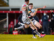 Leicester Tigers centre Matt Scott cuts back inside Sale Sharks full back Luke James during a Gallagher Premiership Round 7 Rugby Union match, Friday, Jan. 29, 2021, in Leicester, United Kingdom. (Steve Flynn/Image of Sport)