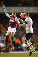 Jan Vertonghen of Tottenham Hotspur challenges Diafra Sakho of West Ham United. Barclays Premier league match, Tottenham Hotspur v West Ham Utd at White Hart Lane in London on Sunday 22nd November 2015.<br /> pic by John Patrick Fletcher, Andrew Orchard sports photography.