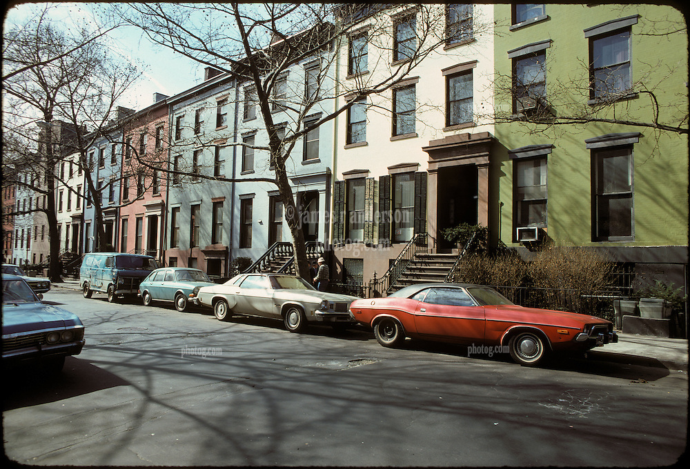 Row Houses and Automobiles Parked on Clinton Street, Brooklyn, New York City, February 25, 1976