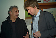 HANIF KUREISHI AND SEBASTIAN SHAKESPEARE, party to celebrate the 100th issue of Granta magazine ( guest edited by William Boyd.) hosted by Sigrid Rausing and Eric Abraham. Twentieth Century Theatre. Westbourne Gro. London.W11  15 January 2008. -DO NOT ARCHIVE-© Copyright Photograph by Dafydd Jones. 248 Clapham Rd. London SW9 0PZ. Tel 0207 820 0771. www.dafjones.com.