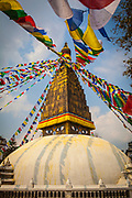 Chabahil Stupa (Buddhist Shrine) with Prayer Flags, Kathmandu