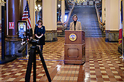 21 JANUARY 2021 - DES MOINES, IOWA: Iowa Governor KIM REYNOLDS talks about her administration's efforts to aid veterans.    PHOTO BY JACK KURTZ