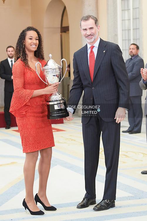 King Felipe VI of Spain attend National Sport Awards 2017 at El Pardo Royal Palace on January 10, 2019 in Madrid, Spain