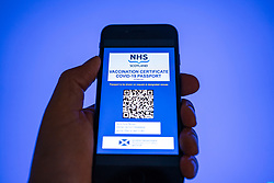 Mock-up of a possible design for a covid-19 vaccine passport app that is planned by the Scottish Government for October 2021.