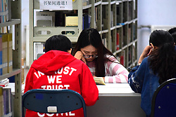 October 7, 2016 - Qingdao, Qingdao, China - Qingdao, CHINA-October 7 2016: (EDITORIAL USE ONLY. CHINA OUT) Students study hard at library in Qingdao University of Science and Technology in Qingdao, east China¡¯s Shandong Province, October 7th, 2016. Many college students chose to stay at school to prepare for postgraduate entrance examination instead of traveling or resting during the National Day holiday, known as ''Golden Week' (Credit Image: © SIPA Asia via ZUMA Wire)